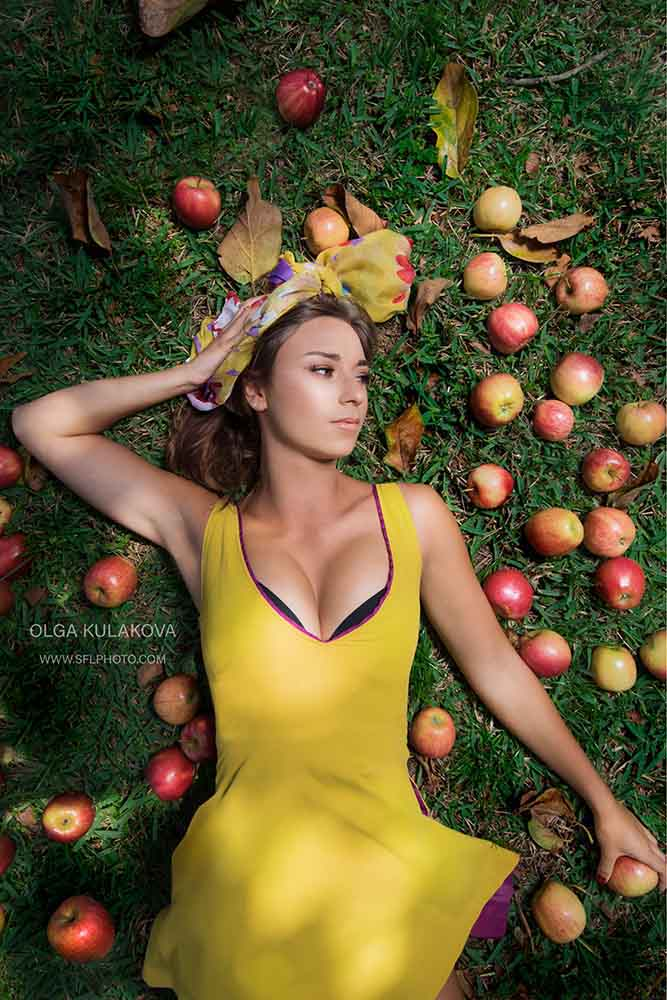 Styled photo shoot with apples - model Estelle Binet